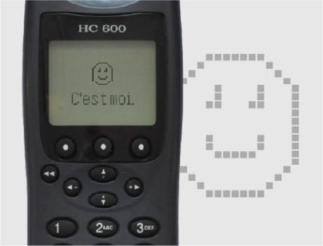 Smiley on a brick phone