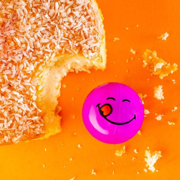 Smiley Halves Face next to cake