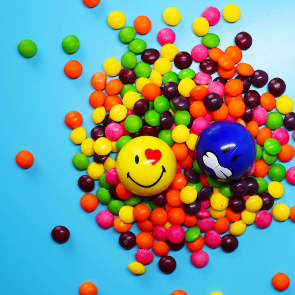Yellow and Blue Smiley Halves on sweets