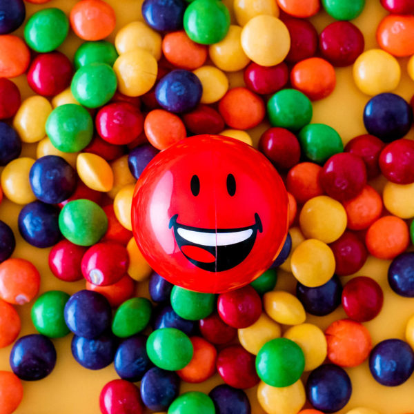Red Smiley Halves on sweets