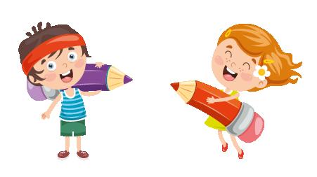 Cartoon Children with Giant Pencils