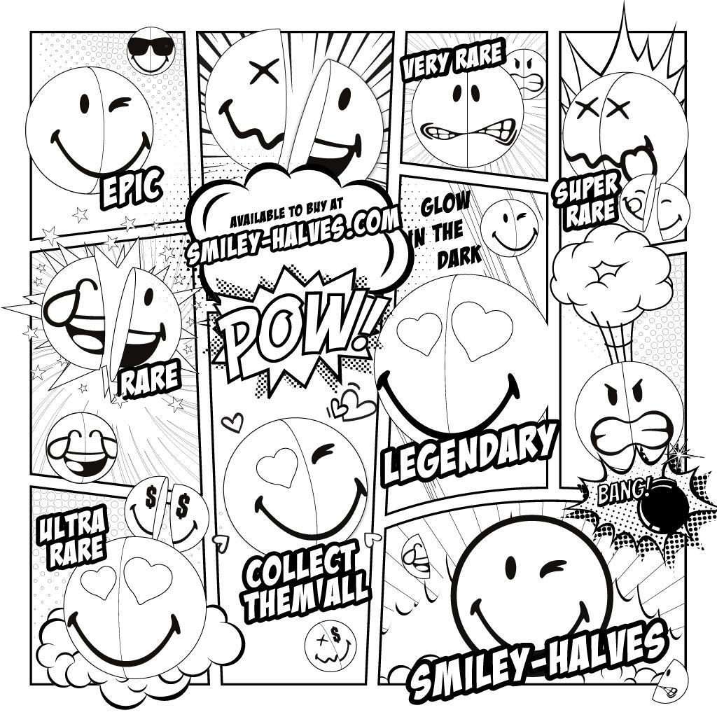 Smiley Halves Black and white comic