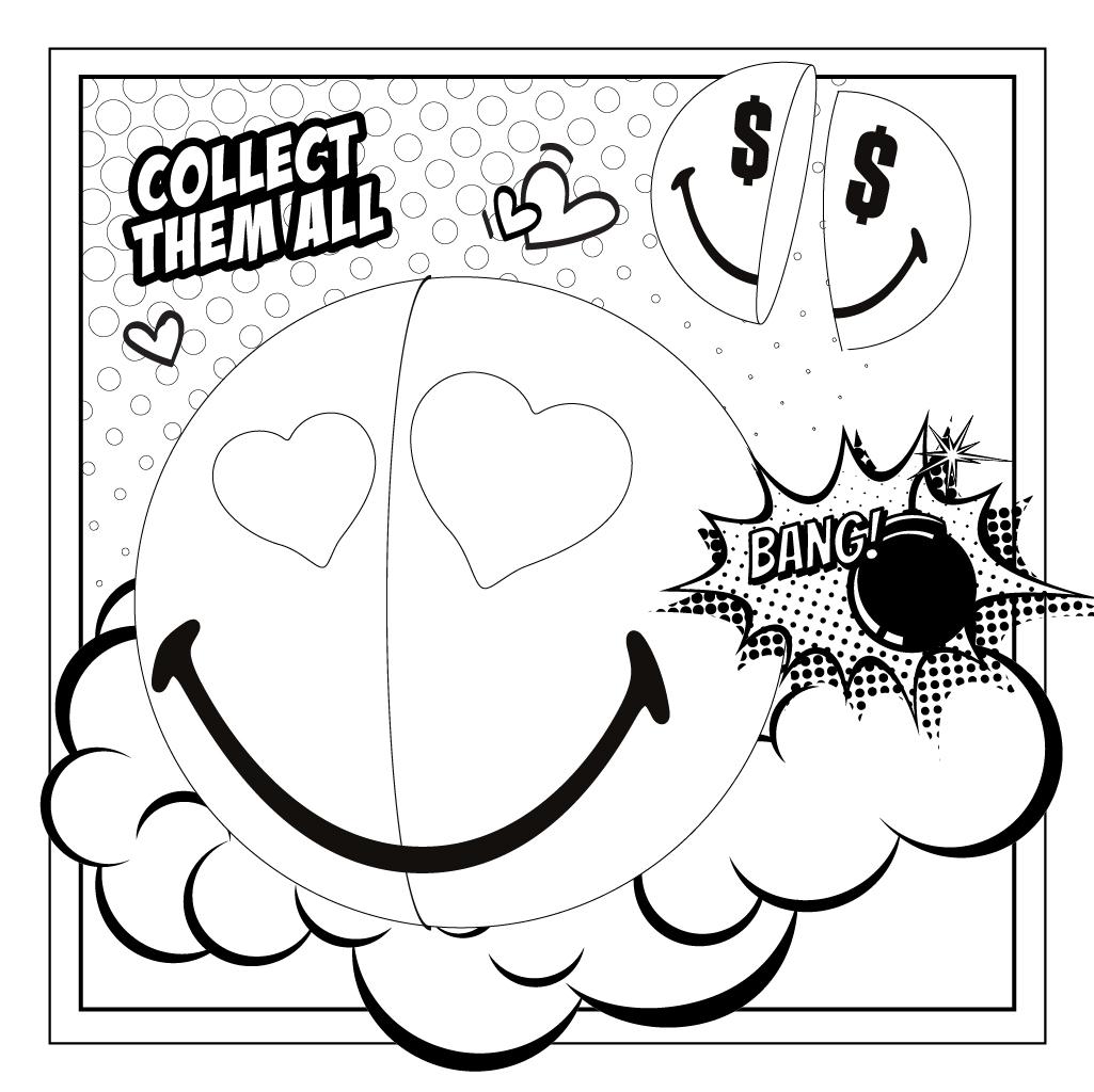 Smiley Halves Comic Square